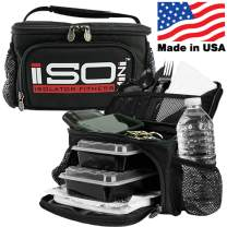 Small Meal Prep Lunch Bag ISOMINI 2 Meal Insulated Lunch Bag Cooler with 4 Stackable/Reusable Meal Prep Containers, 1 Ice Pack ISOBRICK, and 1 Shoulder Strap - Made in USA (Black/Black)
