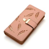 Women's Long Leaf Bifold Wallet Leather Card Holder Purse Clutch Wallet
