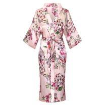 Womens Long Satin Floral Printed Bathrobe Kimono Nightgown Long Dress Gown