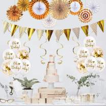 Baby Shower Decorations For Boy or Girl Neutral 27 Pcs Woodland Party Supplies With Paper Fans, Banner,Balloons, Hanging Swirl