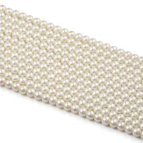 Beadthoven 10 Strands 10mm Glass Pearl Beads Round Loose Spacer for Jewelry Making Party Wedding Decoration Ivory White