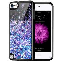 Caka iPod Touch 5 6 7 Case, iPod Touch 7 Glitter Case Starry Night Series Luxury Fashion Bling Flowing Liquid Floating Sparkle Glitter Girly Soft TPU Case for iPod Touch 5 6 7 (Blue Purple)