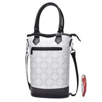 Tirrinia Insulated Wine Carrier Tote - Travel Padded 2 Bottle Wine/Champagne Cooler Bag with Handle and Adjustable Shoulder Strap + Free Corkscrew, Great Wine Lover Gift, White