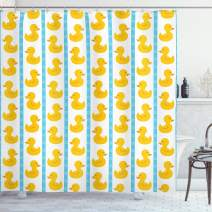 "Ambesonne Rubber Duck Shower Curtain, Yellow Duckies with Blue Stripes and Small Circles Baby Nursery Play Toys Pattern, Cloth Fabric Bathroom Decor Set with Hooks, 70"" Long, Yellow Blue"