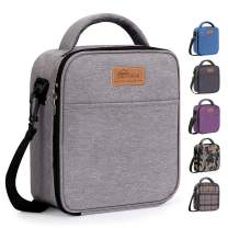 HOMESPON Reusable Lunch Bag Insulated Lunch Box Bento Cooler Tote with Front Pocket and Removable Adjuatable Shoulder Strap For Woman/Man/School/Office (Grey)