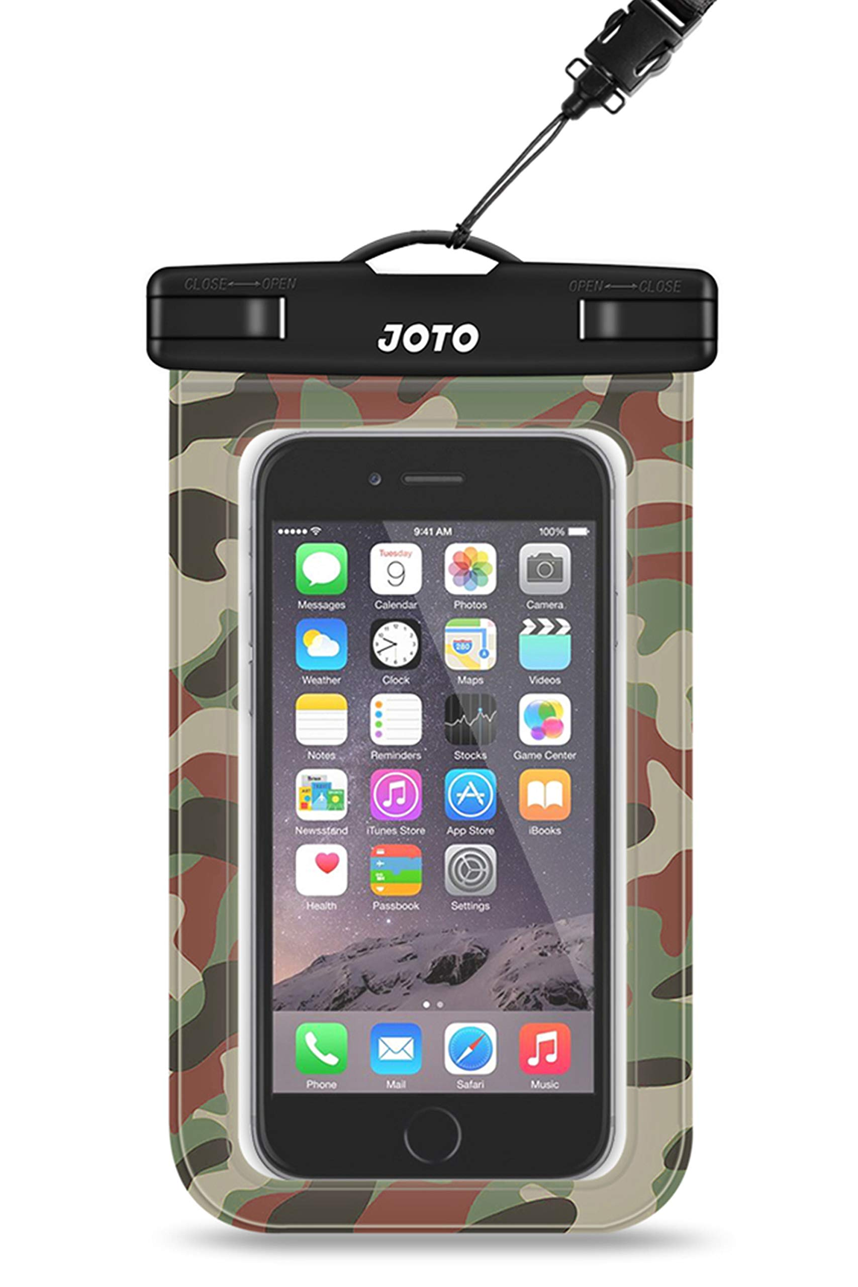 """JOTO Universal Waterproof Pouch Cellphone Dry Bag Case for iPhone 11 Pro Max Xs Max XR X 8 7 6S Plus SE 2020, Galaxy S20 Ultra S20+ S10 Plus S10e S9 Plus S8/Note 10+ 9, Pixel 4 XL up to 6.9"""" -Camo"""