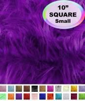 "Barcelonetta   Faux Fur Squares   Shaggy Fur Fabric Cuts, Patches   Craft, Costume, Camera Floor & Decoration (Purple, 10"" X 10"")"
