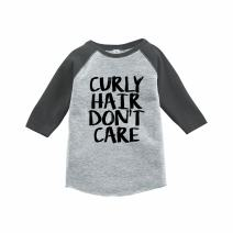 7 ate 9 Apparel Funny Kids Curly Hair Don't Care Baseball Tee Grey