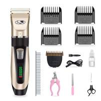 OHMU Dog Shaver Clippers Low Noise Rechargeable Cordless Electric Quiet Battery Display Pet Clippers Set for Dogs Cats Pets