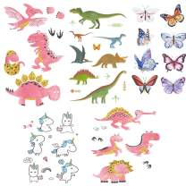 Dtdepth Kids Temporary Tattoos with 47 Dinosaurs Unicorn Butterflies Styles for Birthday Party Supplies and Non-Toxic Decoration, Toys + Halloween Costume