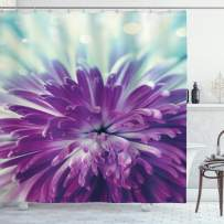 """Ambesonne Dahlia Shower Curtain, Violet Colored Blooming Dahlia Close-Up with Petals in Pale Sunshine Floral, Cloth Fabric Bathroom Decor Set with Hooks, 70"""" Long, Mint Green"""
