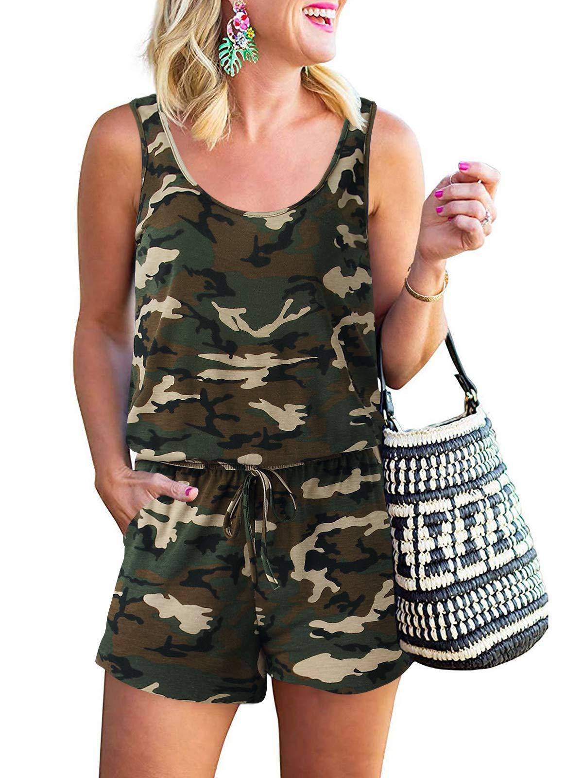 ANRABESS Women Summer Casual Sleeveless Leopard Print Jumpsuits Rompers Beam Foot Elastic Waist Short Jumpsuits Loungewear