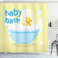 "Lunarable Duckies Shower Curtain, Rubber Duckling Swims in Freestanding Bathtub Filled with Bubbles Baby Bath Toys, Cloth Fabric Bathroom Decor Set with Hooks, 70"" Long, Pale Yellow"