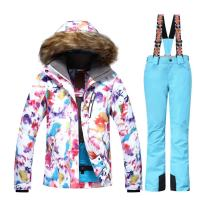 HOTIAN Womens Ski Jacket and Pants Snowsuit Windproof Fur Hooded Waterproof Snowboard Jacket Insulated