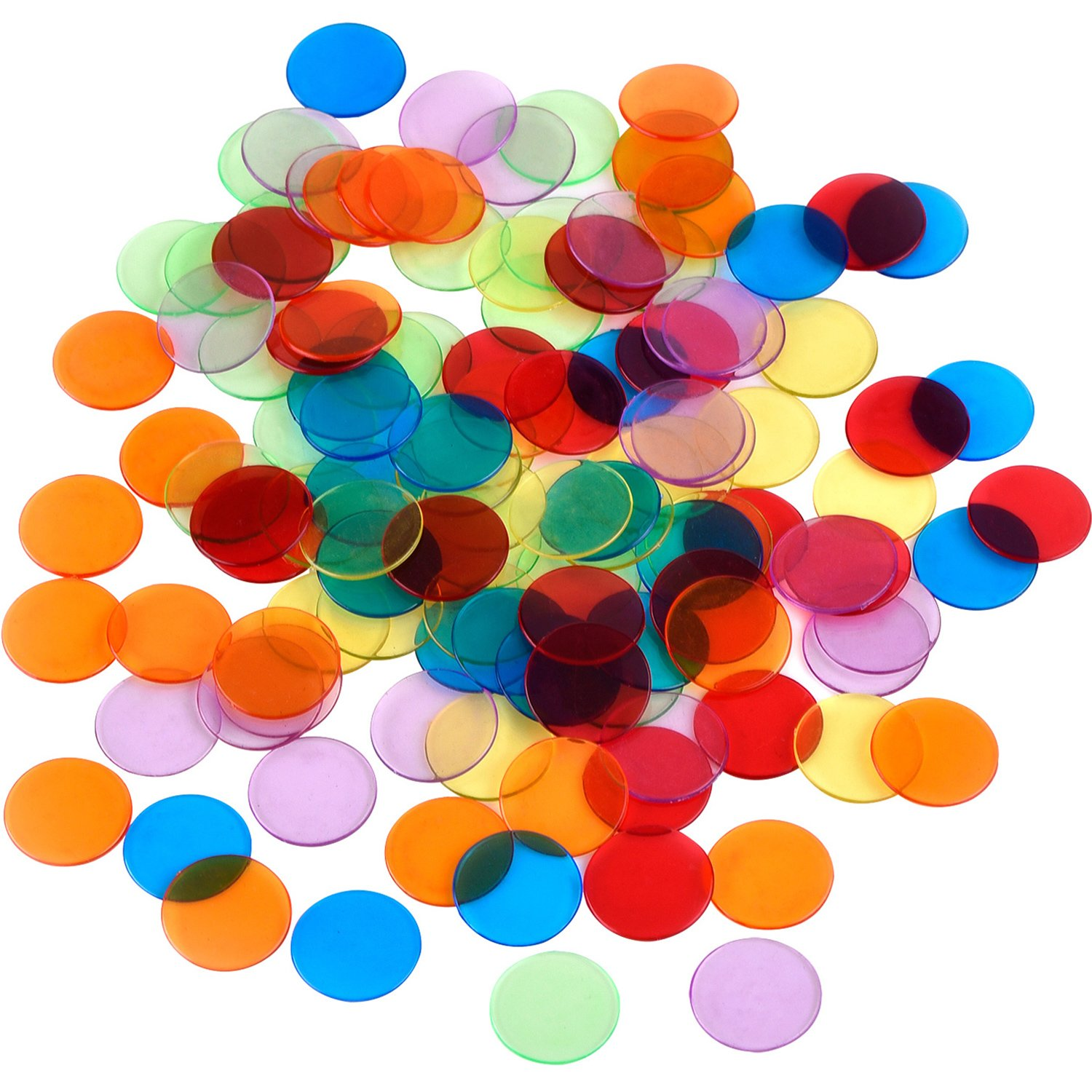 Shappy 120 Pieces Transparent Color Counters Counting Bingo Chips Plastic Markers with Storage Bag (Multicolored)
