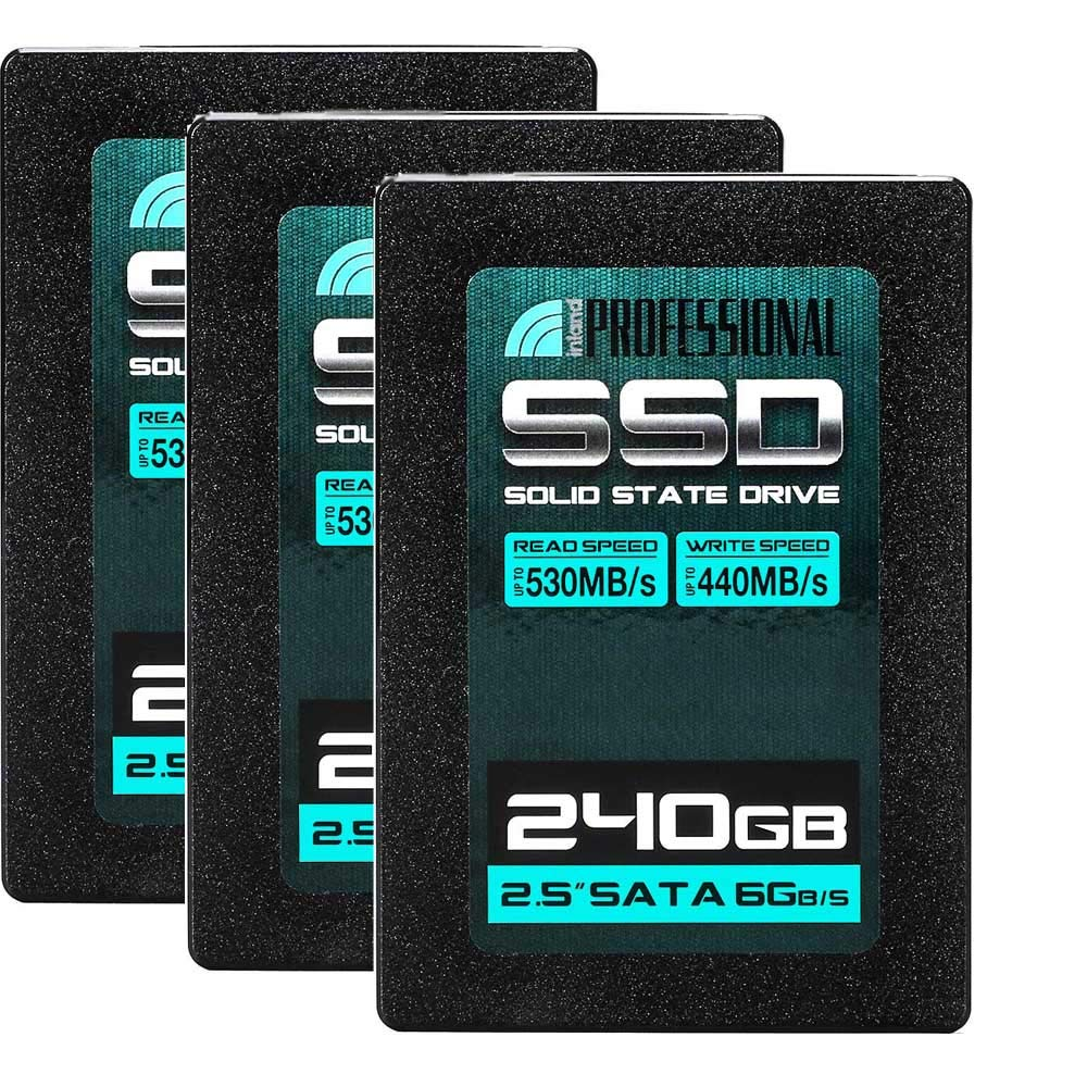"""Inland Professional 3 Pack 240GB SSD 3D NAND SATA III 6Gb/s 2.5"""" 7mm Internal Solid State Drive (3x240GB)"""
