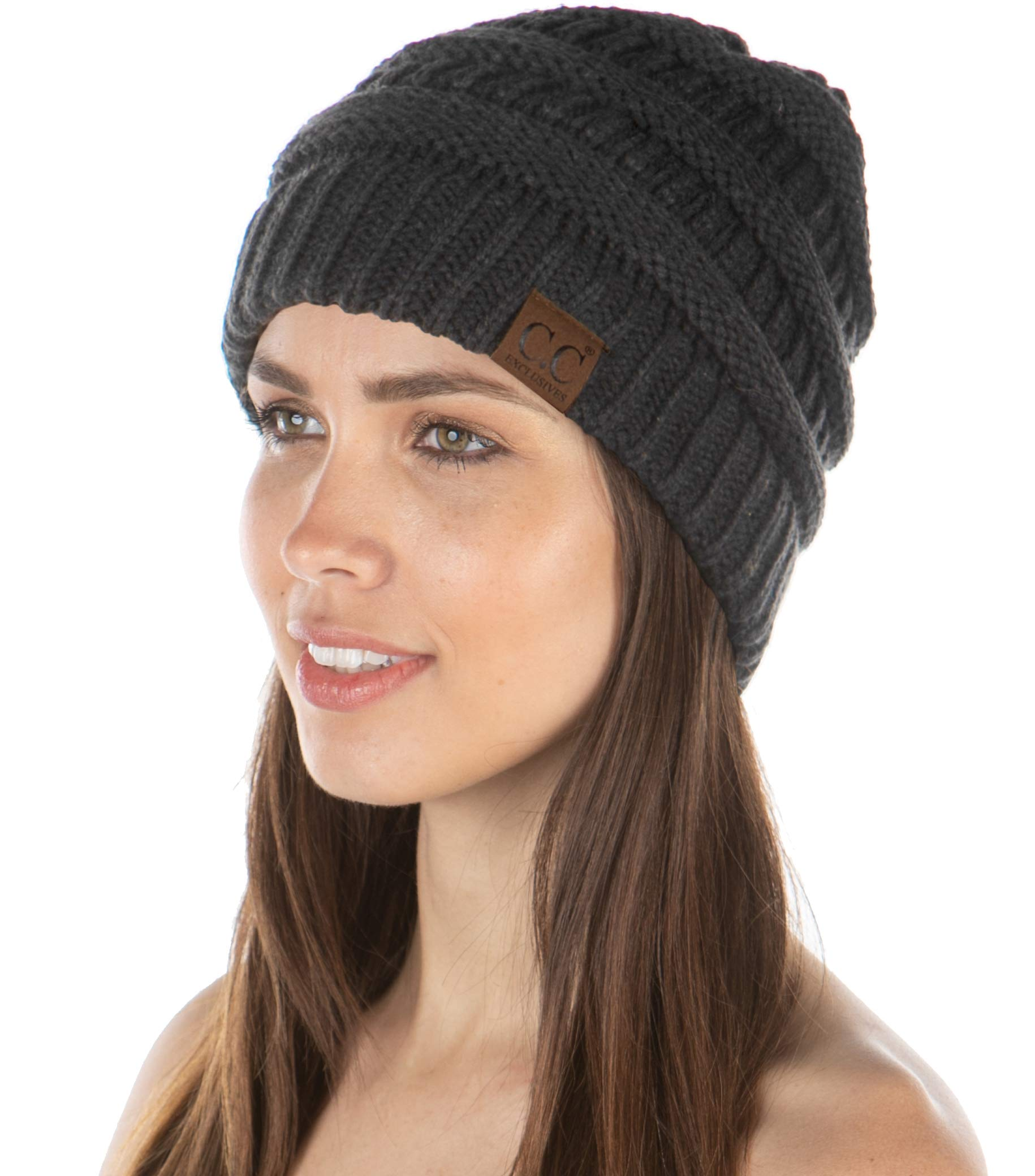 E3-20AHAT-70 Womens Beanie Soft Knit Classic Ribbed Slouch Hat - Charcoal