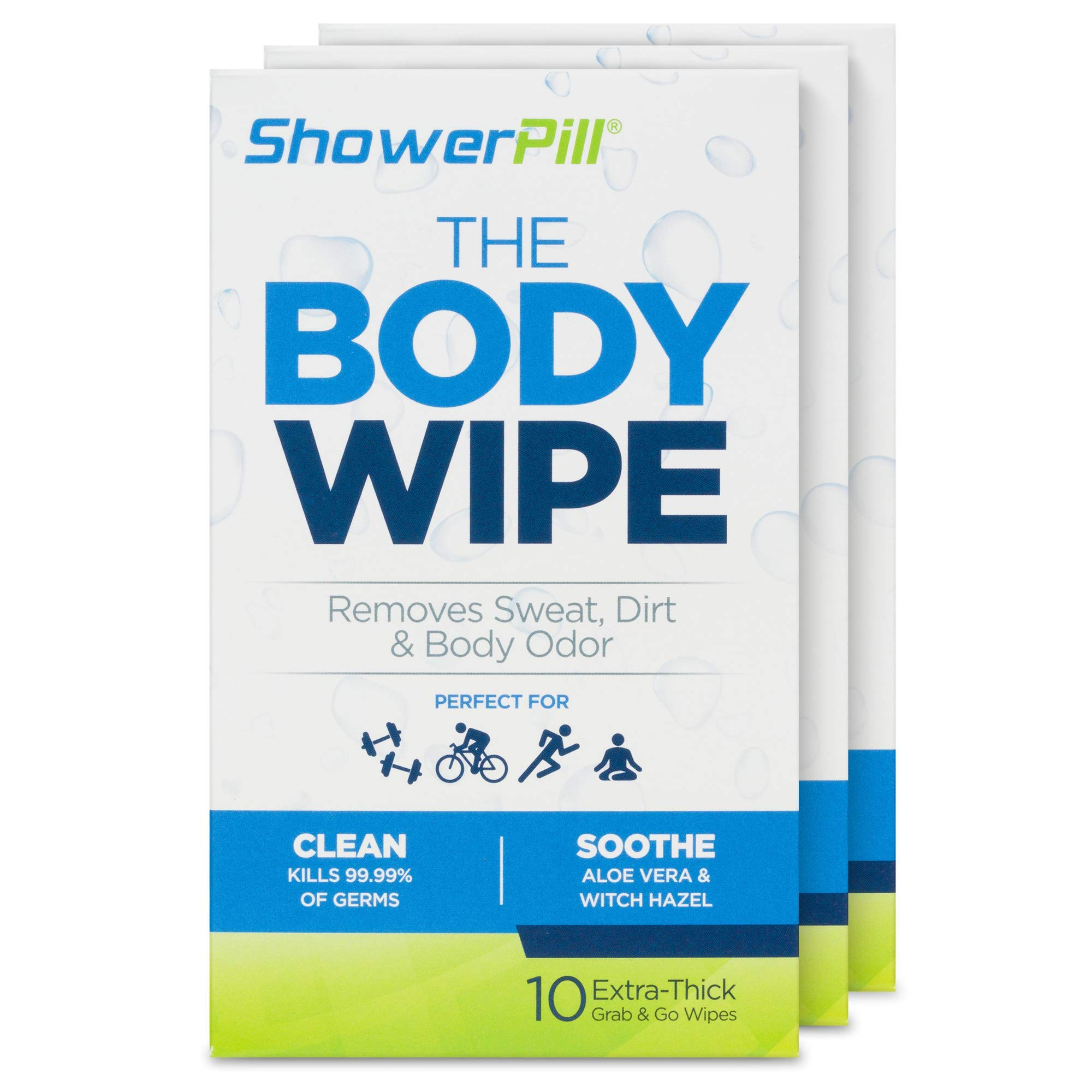 New The Body Wipe by ShowerPill - No Shower Wipes for Adults for Post-Workout or Camping Bathing - 30 Individually Wrapped Wipes