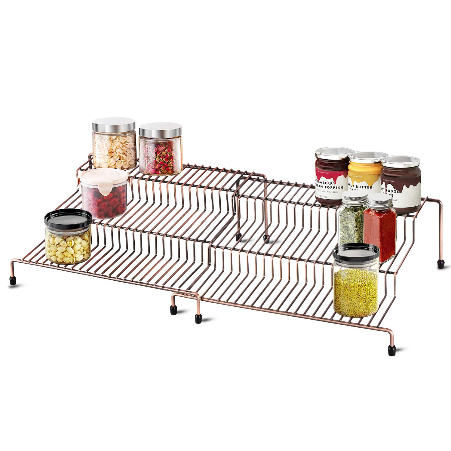 3 Tiers Expandable Spice Racks Step Shelf Multipurpose Storage Rack Non Skid Cabinet Countertop Organizer For Kitchen Pantry Bathroom 2 Pack