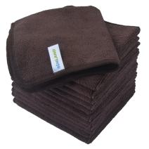 Sinland Absorbent Microfiber Dish Cloth Kitchen Streak Free Cleaning Cloth Dish Rags Lens Cloths 12 Inch X 12 Inch 12 Pack Dark Brown