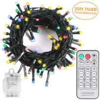 String Light with Remote and Timer - 35ft Battery Operated Christmas Tree Lights with 75 LEDs - Outdoor String Lights with 3 Colors Choice 9 Modes - Long Last Over 200 Hours Multicolor