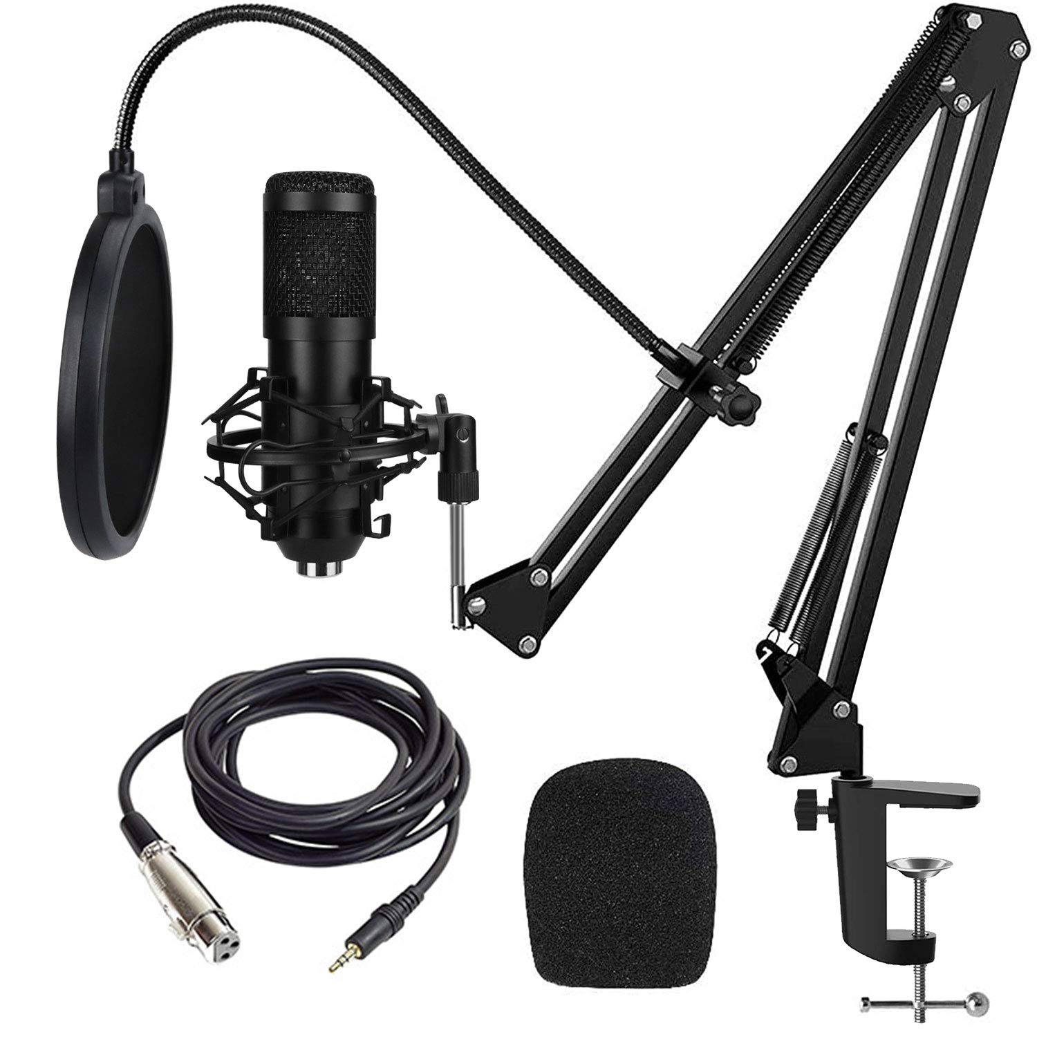 Condenser Microphone,Tuokeogo 192KHZ/24Bit Plug & Play PC Streaming Mic, BM-800 USB Microphone Kit with Professional Sound Chipset Boom Arm Set for Recording YouTube Karaoke Gaming Podcasting etc