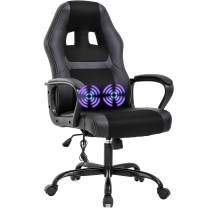 PC Gaming Chair Massage Office Chair Ergonomic Desk Chair Adjustable PU Leather Racing Chair with Lumbar Support Headrest Armrest Task Rolling Swivel Computer Chair for Women Adults(Black)