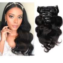 """FAAAL 14"""" Clip in Human Hair Extensions Full Head 110g 7 Pieces 16 Clips Natural Black Double Weft Brazilian Real Remy Hair Extensions Thick Body Wave Silky (14"""" 110g, 1B)"""