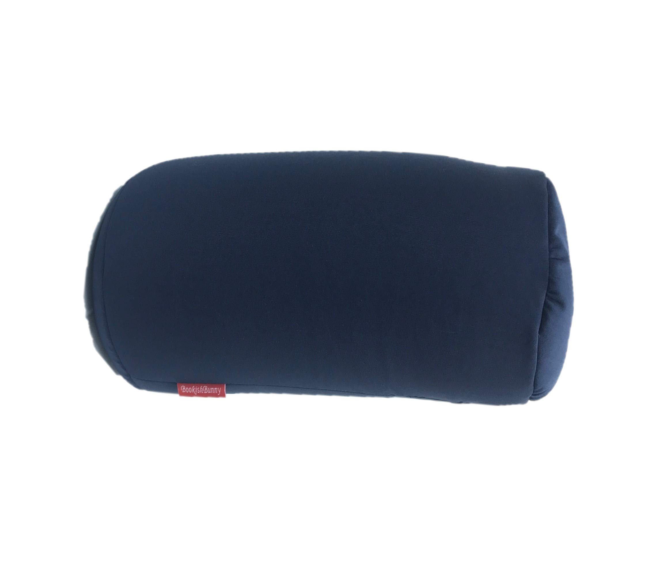 """Bookishbunny Home Office Chair Car Seat Cushion Micro Bead Roll Pillow 7"""" x 12"""" Head Neck Back Body Comfort (Navy)"""