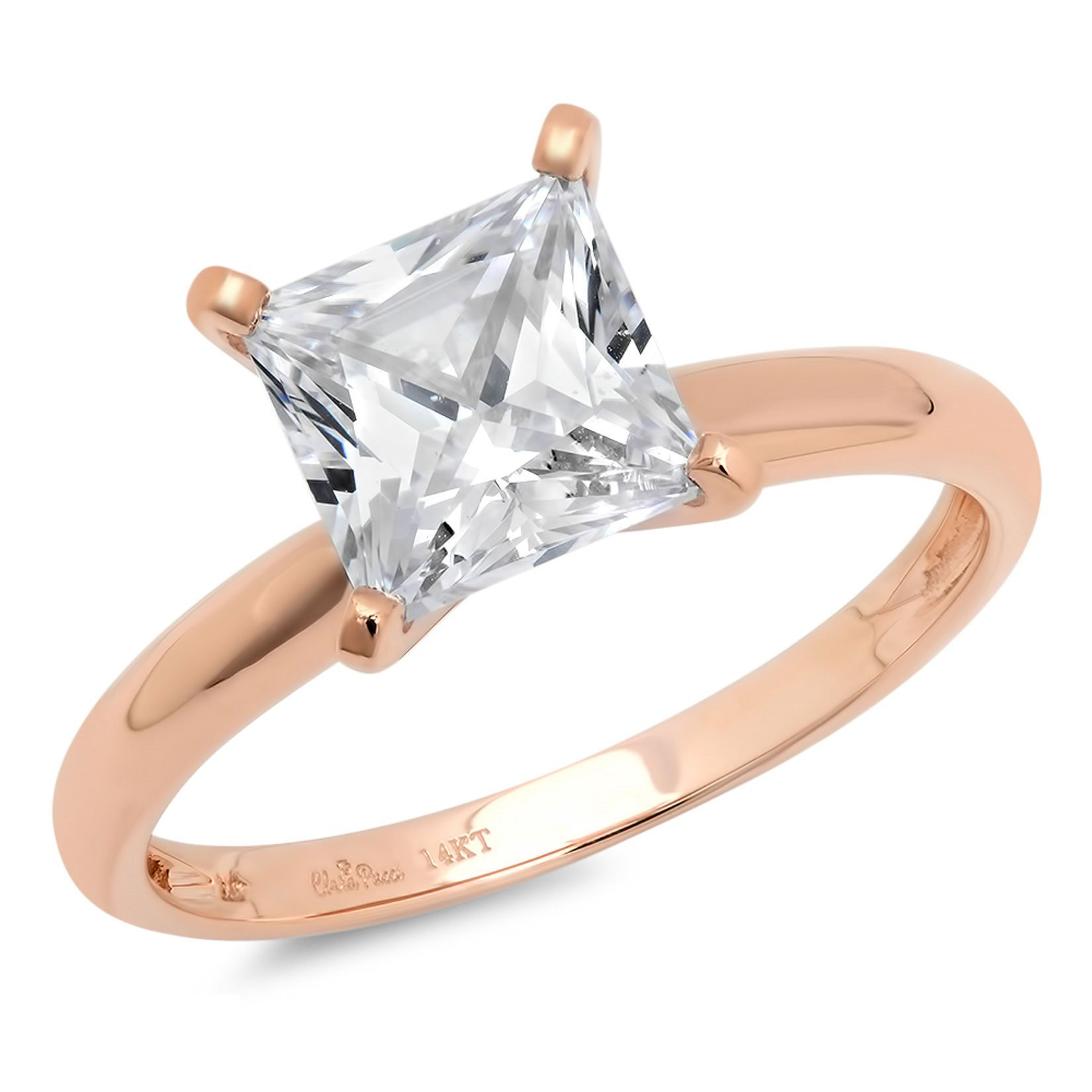 0.45ct Brilliant Princess Cut Solitaire Highest Quality Lab Created White Sapphire Ideal VVS1 D 4-Prong Classic Designer Statement Ring in Solid Real 14k Rose Gold for Women