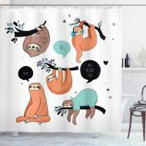 "Ambesonne Animal Shower Curtain, Cartoon Style Illustration Tribe of Sloths Smiles Sleeping Lazy Does Yoga with Words, Cloth Fabric Bathroom Decor Set with Hooks, 75"" Long, Salmon Teal"