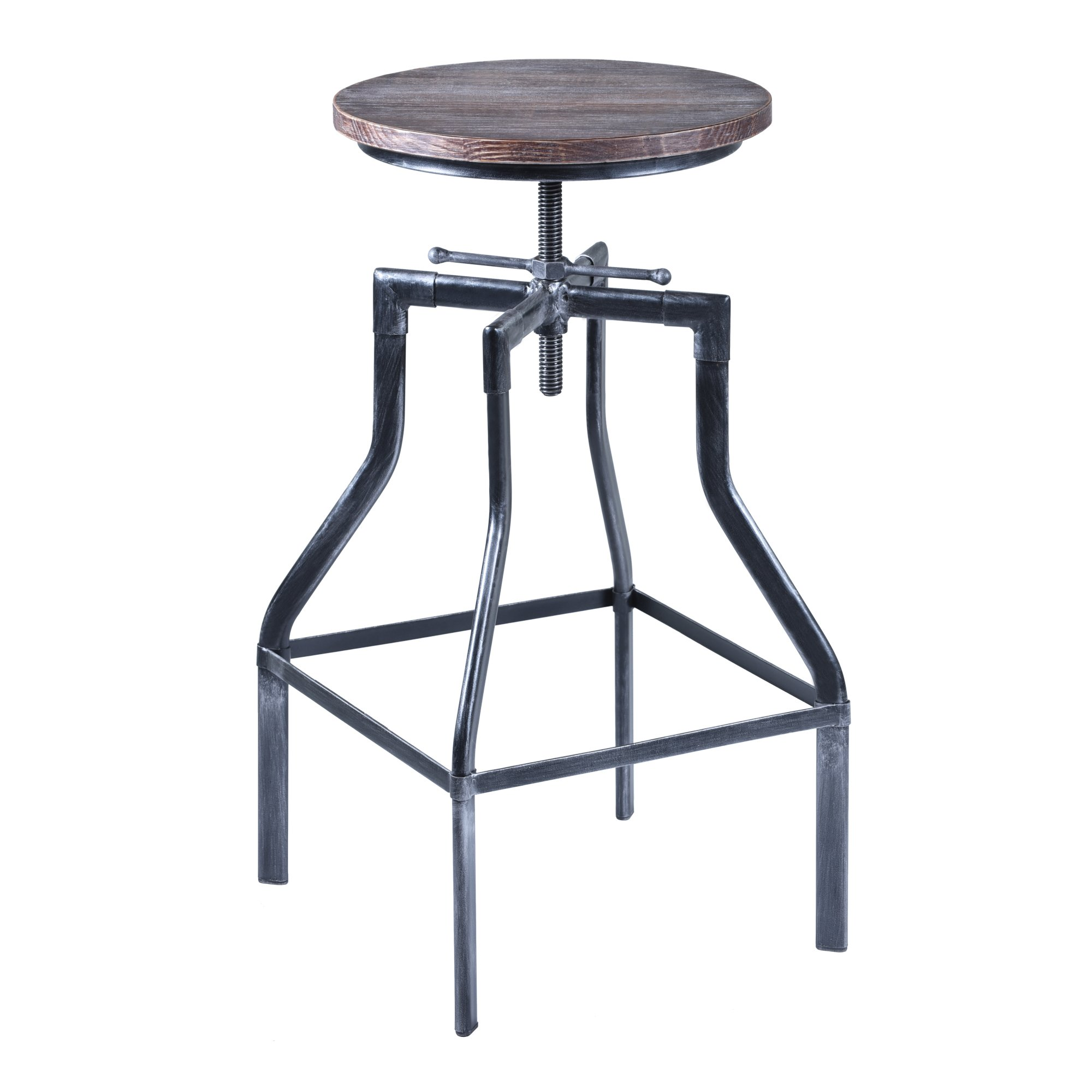 Armen Living Concord Adjustable Barstool in Pine Wood and Industrial Grey Metal Finish