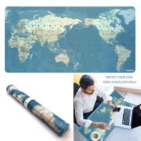 Extended PU Leather Mouse Pad Mat Large Office Gaming Table Desk Mousepad for PC Computer MacBook iMac Keyboard Phone Waterproof Washable Anti-Slip Ultra Thin 2mm - 31.4'' x 15.7'' (World Map)