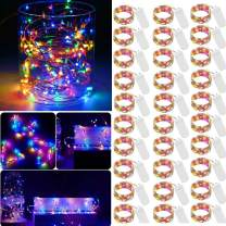 Colorful LED Fairy Light String 30 Pack Micro 20 LED Battery Operated Silver Wire Lights Mini Waterproof Twinkle Star Starry Lights Mason Jar Lights for DIY Party Wedding Bedroom Decor(Multi Color)