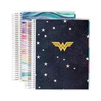 Wonder Woman X Erin Condren 12 - Month Starry Sky & Layers Colorful Coiled Daily Life Planner (July 2020 - June 2021) Layers Colorful Interior - Set of Two 6-Month Planners. 12 Months of Planning