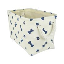 """DII Bone Dry Small Rectangle Pet Toy and Accessory Storage Bin, 14x8x9"""", Collapsible Organizer Storage Basket for Home Décor, Pet Toy, Blankets, Leashes and Food-Nautical Blue Bone"""