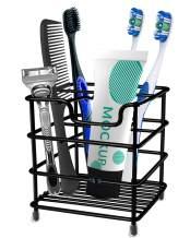 Toothbrush Holder Stainless Steel Rustproof Bathroom Electric Toothbrush Holder Toothpaste Storage Organizer Stand for Vanity Countertops