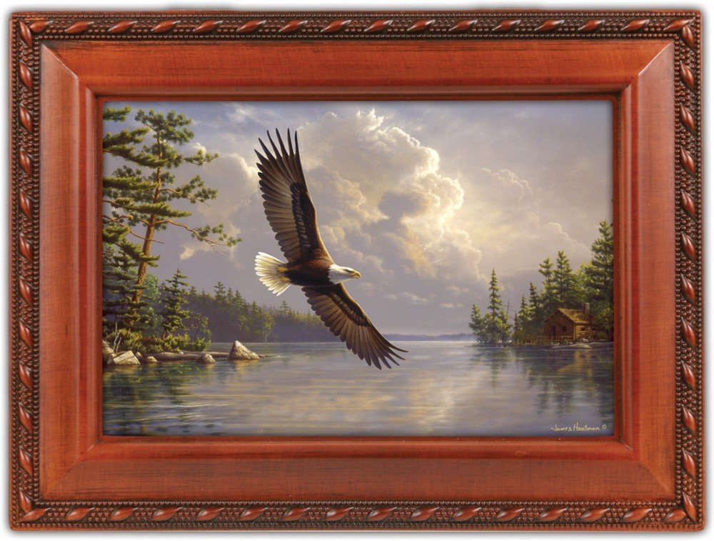 Cottage Garden Eagle in Flight Woodgrain Rope Trim Jewelry Music Box Plays Wind Beneath My Wings