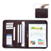 Leathario Portfolio A4 File Folder Padfolio Writing Pad Business Presentation Folder PU Black (brown-11)