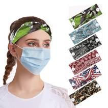 Minmin 6Pcs Boho Criss Cross Button Headband Holder for Nurses , Women/Girl/Yoga/Sports,Protect you Ears with Button Headband