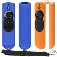 [2 Pack] Silicone Anti-Slip Remote Cover Case for Fire TV with 4K Alexa Voice Remote (2017 Edition) (2nd Gen) / Fire TV Stick Alexa Voice Remote 5.9inch (Blue + Orange)