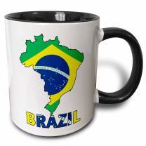 "3dRose mug_51743_4""Brazilian flag in the map and letters of Brazil"" Two Tone Black Mug, 11 oz, Multicolor"