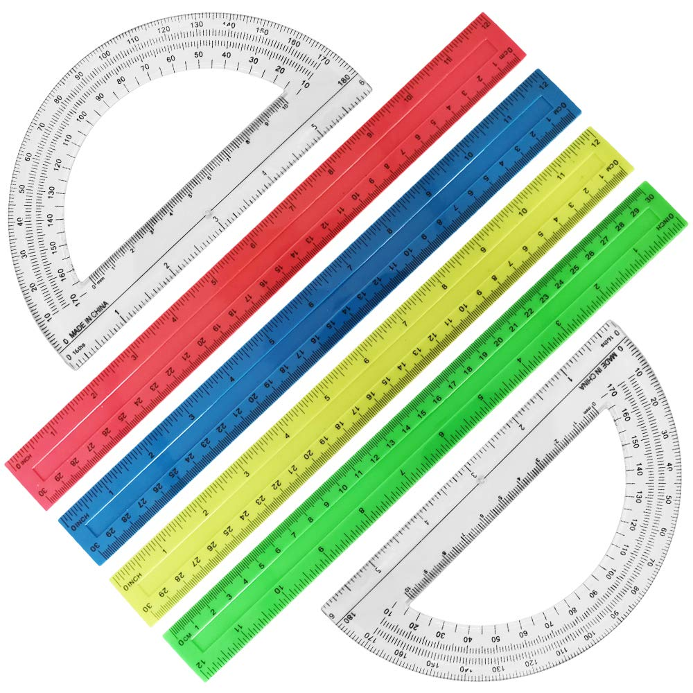 6 Pack Measuring Tools, DaKuan Plastic Straight Ruler (12 Inch, 4 Colors)and Protractor 180 Degree (6 Inch, Transparent)