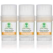 Green Tidings Natural Deodorant - Orange Vanilla 1 oz. (3 Pack) - Extra Strength, All Day Protection - Vegan - Cruelty-Free - Aluminum Free -Organic- Paraben Free - Non-Toxic - Solid Lotion Bar Tube