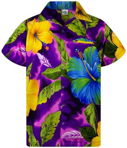 Funky Hawaiian Shirt Big Flower Orange