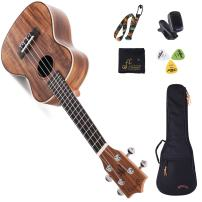 WINZZ Koa 23 Inches Concert Ukulele with Bag, Tuner, Strap, Cleaning Cloth, Picks