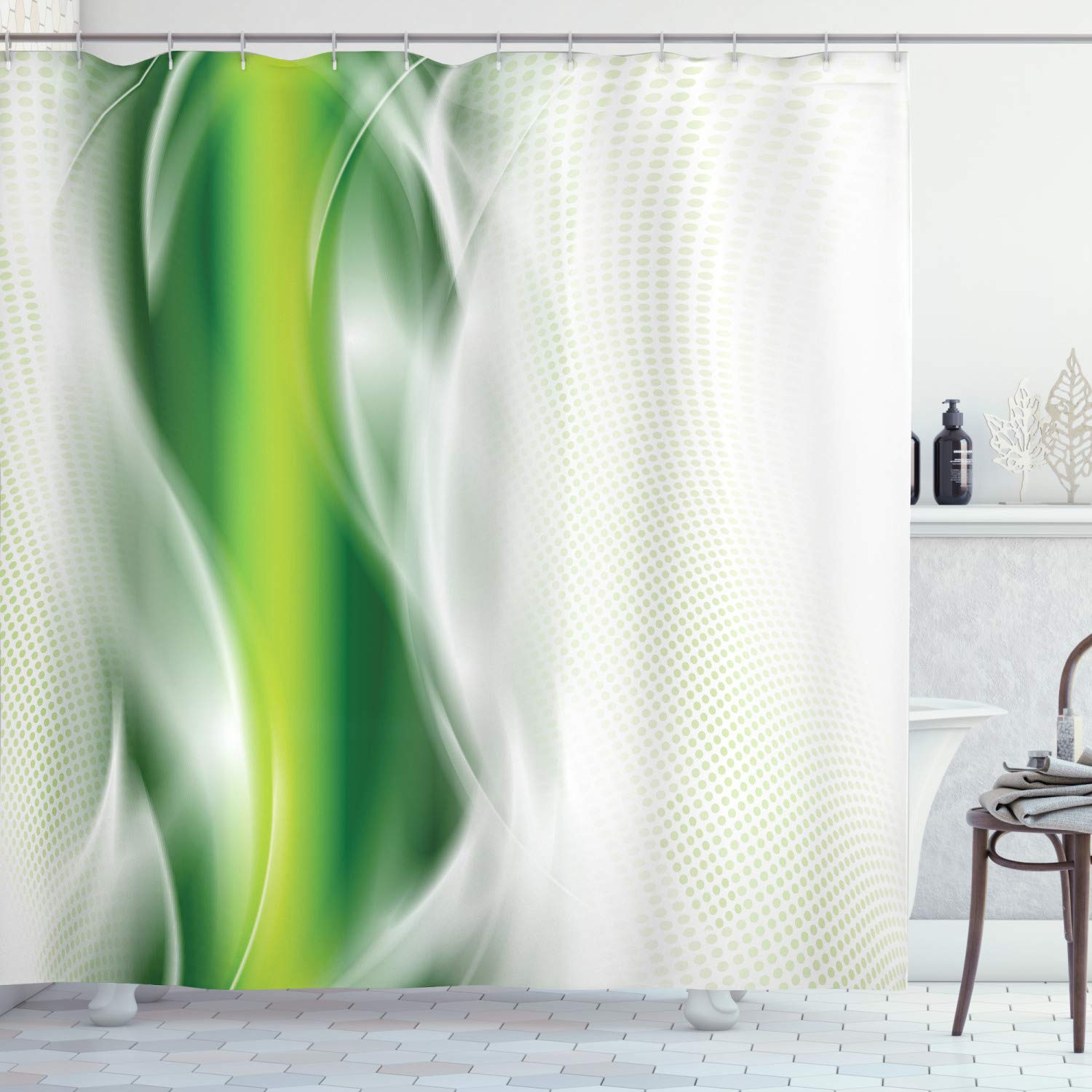 """Ambesonne Abstract Shower Curtain, Cool Floral Like Strip Wavy Detailed Design Image Print, Cloth Fabric Bathroom Decor Set with Hooks, 70"""" Long, Dark Green White"""