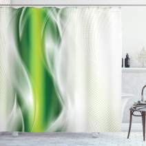 "Ambesonne Abstract Shower Curtain, Cool Floral Like Strip Wavy Detailed Design Image Print, Cloth Fabric Bathroom Decor Set with Hooks, 70"" Long, Dark Green White"