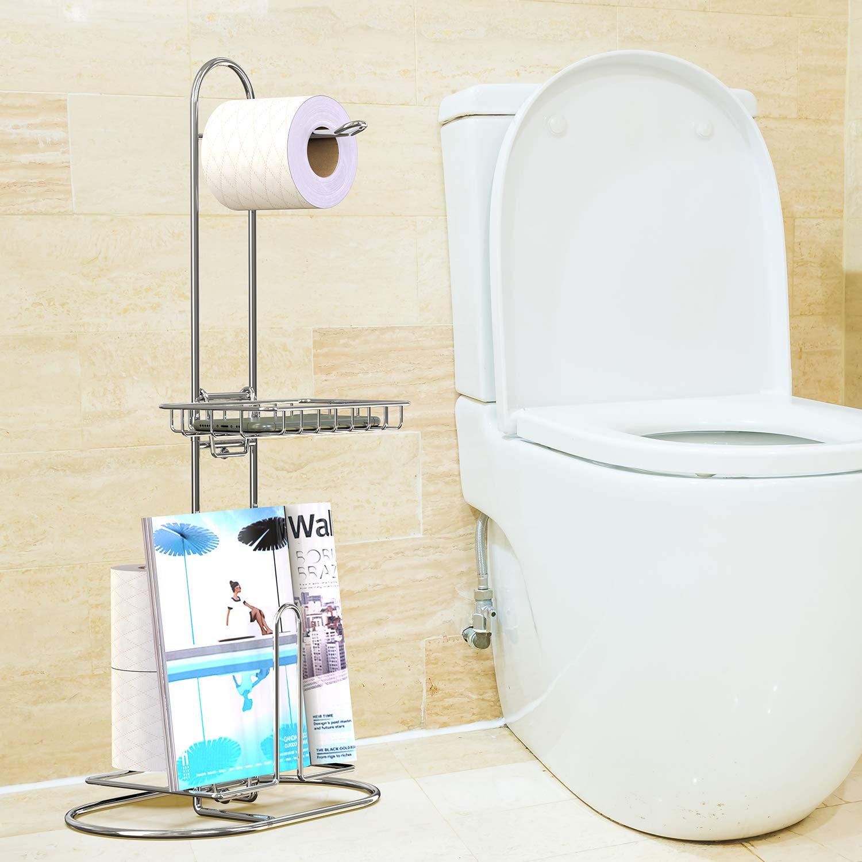 GeekDigg Toilet Paper Holder, Bathroom Toilet Paper Roll Storage Holder Stand, Portable Tissue Paper Dispenser Reserve for Magazine/iPad/Phone Holder