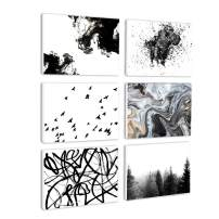 BIL-YOPIN Canvas Wall Art Abstract Painting Prints Wall Artworks Pictures 6 Panels Canvas Print Wall Décor Paintings for Home Living Room Bedroom Decoration Office Framed Ready to Hang,11x15in x6pcs